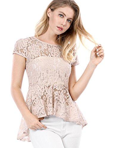 ef40c1da09 Allegra K Women s Cap Sleeves High Low Hem Lace A Line Peplum Top M Pink