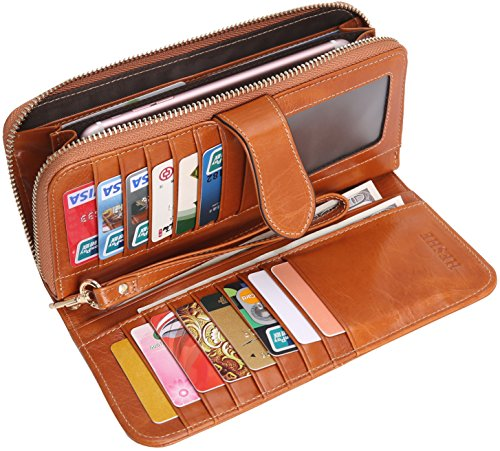8df655eb561 Heshe Women's Long Wallets Money Clips Card Case Holder Large Capacity Purse  for Ladies with Wrist Strap Camel-E