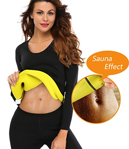 900a12e49d482 LAZAWG Women Slimming Sweat Long Shirt Weight Loss Neoprene Body Shaper Hot  Sauna Suit Shapewear Black