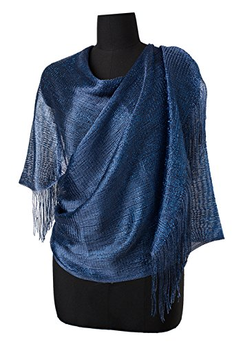 5ef5ddc48c7e7 MissShorthair Womens Wedding Evening Wrap Shawl Glitter Metallic Prom Party  Scarf with FringeDark Blue. Hand wash in cold water, tumble dry for long  lasting ...