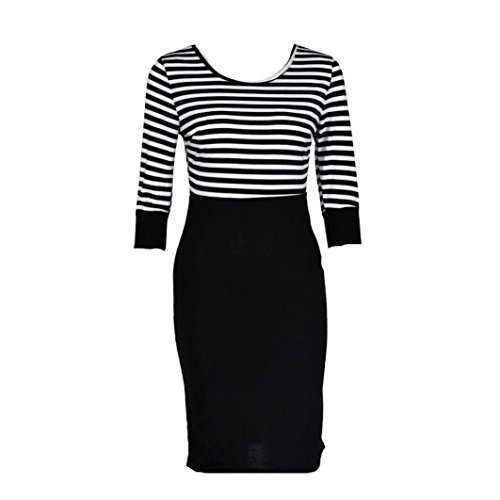 f42049efc2 MALLOOM Women Lady Splice Slim Striped Bodycon Formal Occasion Pencil Dress