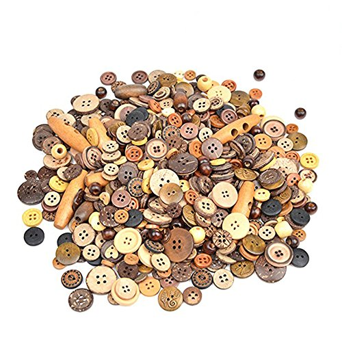 6//8 Inch PEPPERLONELY Brand 100PC Natural 4 Hole Scrapbooking Sewing Wood Buttons 20mm