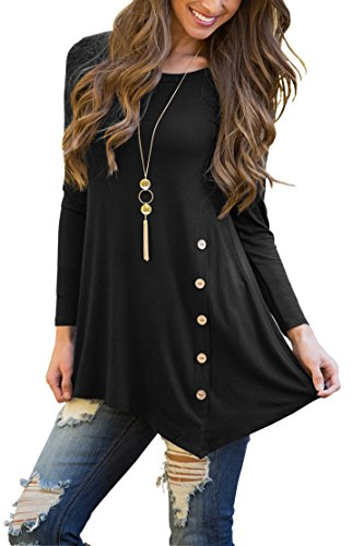 4bb8d11b298a Features:long Sleeve, irregular hem, side wooden button design. Hand  feeling: Soft fabric for a comfortable feminine touch. Style:with  elasticity, perfect ...